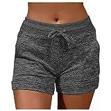 TiKingAn Pantalones cortos de deporte para mujer, con cordón, elásticos, cintura alta, pantalones de deporte, jogging, yoga, pantalones cortos, pantalones de chándal, pantalones de pijama., H, M