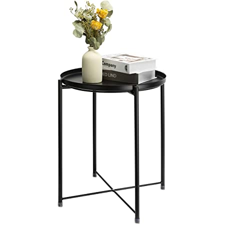 danpinera End Table, Side Table Metal Waterproof Small Coffee Table Sofa Side Table with Round Removable Tray for Living Room Bedroom Balcony and Office (Black)