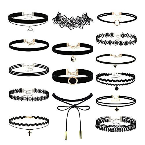 Konssy 15 PCS Chokers Set Black Choker Necklaces for Women Teen Girls Gothic Collar Lace Velvet Chockers