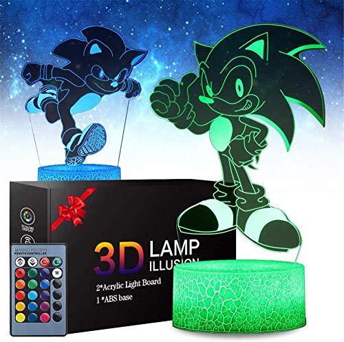 Sonic The Hedgehog - Luz de noche 3D para niños, 16 colores que cambian la lámpara de noche con control remoto, regalo de cumpleaños para niños y adultos