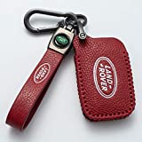 Nonesuper (Red) for Land Rover Key Fob Cover, Genuine Leather Key Fob Case Full Protection Case is Compatible with Land Rover a9 Range Rover Freelander 2 3 Evoque Discovery 3 4 Sport Smart Key