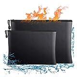 Bolsa de documentos ignífuga, 2 bolsas de almacenamiento seguras a prueba de fuego e...