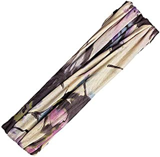 Pink Pewter Rue Extra Wide Colorful and Comfortable Polyester Stretch Fabric Printed Headband Sports Wrap Hair Accessory - Cream and Lilac