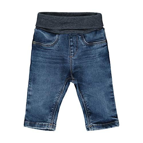 Steiff Baby-Jungen mit süßer Teddybärapplikation Jeanshose, Blue Indigo, 074