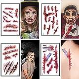 6 unids/Set Tatuaje Temporal Pegatina Horror Terror Herida Sangre Herida Cicatriz Tatuaje Pegatina para Halloween niños Adultos Suministros de Maquillaje