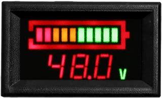 HUSUKU Led Digital Battery Indicator Meter Gauge Golf Cart, Led Digital Electricity Indicator Meter,12V/24V/36V/48V Led Battery Gauge for Golf Cart with Hour Meter (48V)