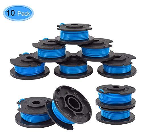 Ersatz-Trimmer-Spule, 10 Packungen Ersatz-Trimmerdraht + 1 Abdeckung (Beutel), geeignet für Ryobi One Plus AC14RL3A 18V 24V 40V 11Fuß 0,065