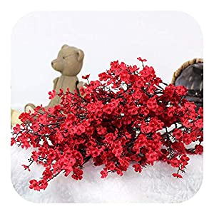 Silk Flower Arrangements Cherry Blossoms Artificial Flowers Baby's Breath Gypsophila Fake DIY Wedding Decoration Home Bouquet Faux Branch-red-