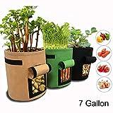 GEMGO 3 Pack Potato Grow Bag, 7 Gallon Aeration Waterproof Fabric Sweet Potato Planter, Velcro Window Vegetable Peanut Growing Box Bucket Pot for Nursery Garden (3 Pack, Black Brown Green)