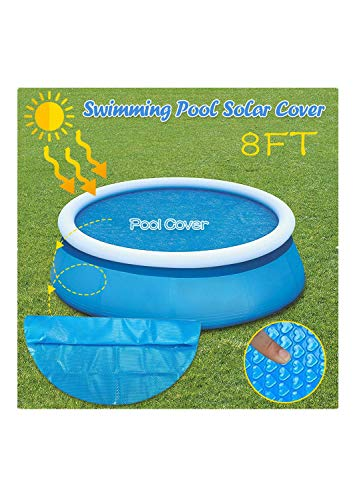 SUMSAYEI Solar Cover for Diameter Easy Set and Frame Pools Pool Cover for Round Above Ground Swimming Pools Round Premium Pool Solar Blanket Cover (8ft, Blue)