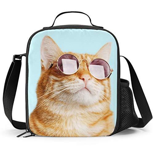PrelerDIY Lonchera con aislamiento para gatos y gafas de sol, diseño 3D, con bolsillo lateral y correa para el hombro, ideal para la escuela, camping, senderismo, picnic, playa, viajes
