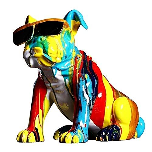 MFFACAI Graffiti Statue, Multicolor Dog Statue Innovative Resin Animal Ornament Puppy Figurine Resin Sculpture...