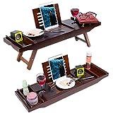 prodigen bamboo bathtub tray caddy -premium wood bed tray & bath table adjustable bathtub caddy