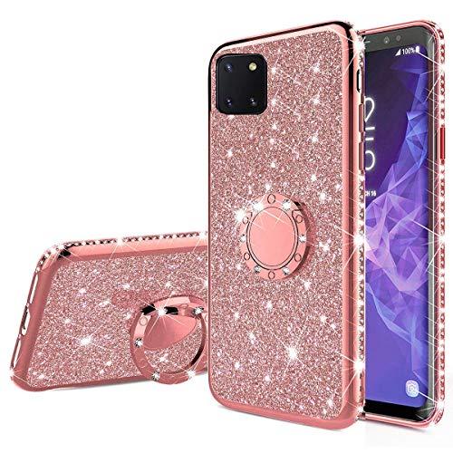 Nadoli Glitzer Hülle für Galaxy Note 10 Lite,Kristall Diamant Strass Bumper mit 360 Ring Kickstand Silikon Schutzhülle Handyhülle Frauen Mädchen für Samsung Galaxy Note 10 Lite,Roségold