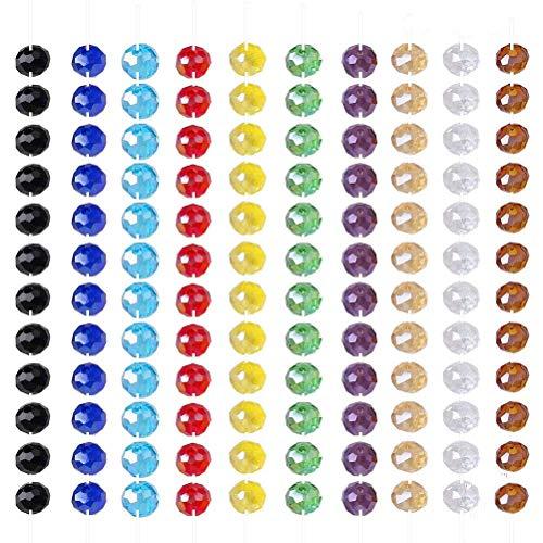 Perlas Vidrio,1000 Pack 6mm Redondo Colorido Perlas Abalorios Cuentas para Fabricación de Joyas Manualidades Pulsera Collar Tobillera DIY 10 Colores 10 Cuerdas
