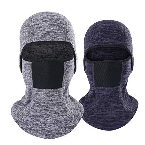 THINUDST Winter Balaclava - Fleece Full Face Mask for Men & Women (Gray + Blue)