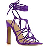 ESSEX GLAM Womens Lace Up Sandals Ladies Purple Faux Suede Caged Gladiator High Heel Strappy Shoes 6 B(M) US