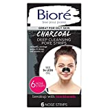 Bioré Charcoal, Deep Cleansing Pore Strips, 6 Nose Strips for Blackhead Removal on Oily Skin, with...