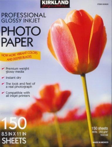 Kirkland Signature Professional Glossy Inkjet Photo Paper 8.5 x 11 Inch (150 Sheets)