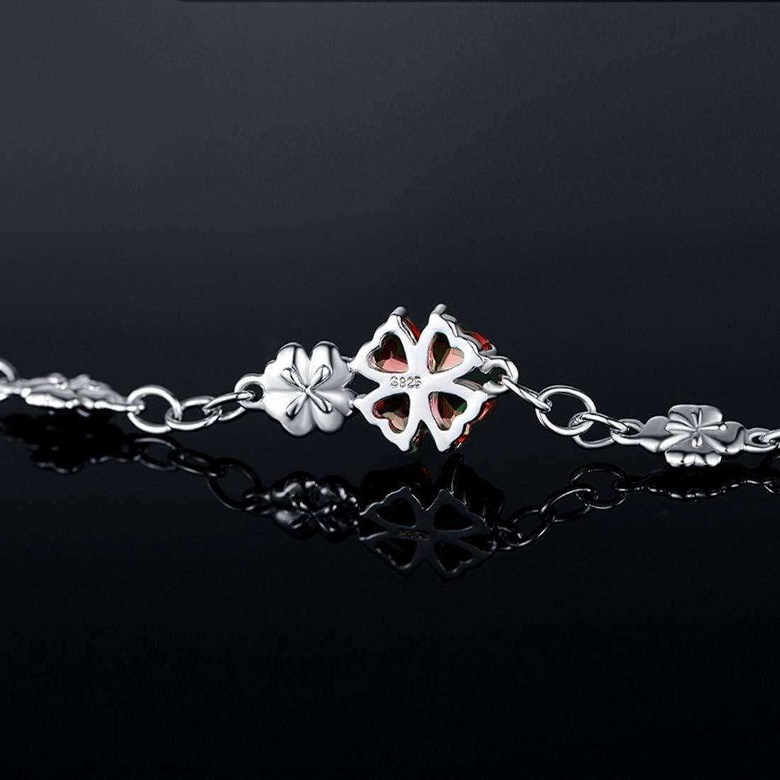 JIANGXIN 925 Sterling Silver Birthstone Chain Link Bracelet for Women Girl Lucky Four leaf clover Gemstone Fine Jewelry Good Luck Shamrock Birthday Gift