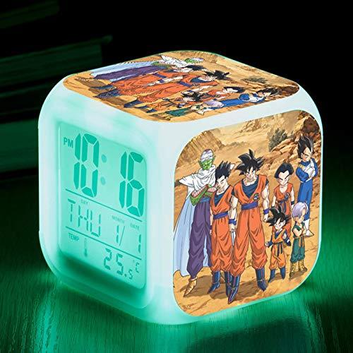 Reloj despertador pequeño y colorido Reloj despertador colorido que cambia de color Regalo para estudiantes Reloj cuadrado de 8 cm