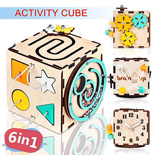 BrainUpToys Busy Activity Cube for Travel Toddlers Kids Children Baby - Busy Board – Wooden Sorter Toy - Montessori Toys Infant - Sensory Board - Learning Basic Life Skill - Time Telling Clock
