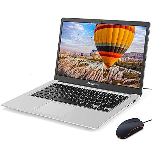 FUNXUN Pc Portatile Creek Laptop Ultrabook 14 pollici, Intel Celeron, 6GB ROM 64GB RAM Storage aggiornabile, Windows 10 Pro, Schermo FHD, Ultrabook portatile leggero, WIFI,(+ Mouse)