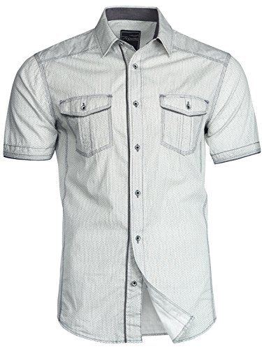 Trisens Herren Hemd Shirt Kurzarm Baumwolle Kontrast Knopfleiste Polo Party, Farbe:Hellgrau, Größe:M