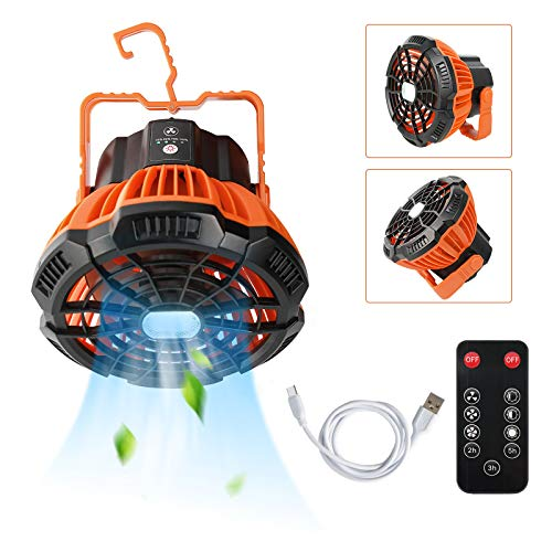 Ventilador portátil de camping con luz recargable, linterna de camping USB con ventilador de techo para exterior, hogar, oficina