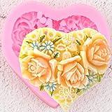 CSCZL Sugarcraft Forma de corazón Flores Molde de Silicona Caramelo Chocolate Gumpaste Molde DIY Boda Cupcake Fondant Herramientas de decoración de Pasteles