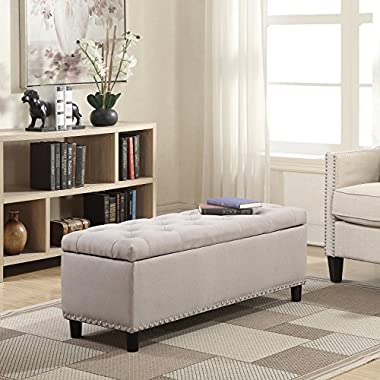 Belleze 48  Rectangular Storage Fabric Ottoman Bench Tufted Footrest, Large, Natural