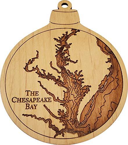 "Sea & Soul Chesapeake Bay Nautical Map Ornament, Lake Art Ornament, Made in The USA, Nautical Wedding Favor, Nautical Wood Ornament, Laser Engraved Gift Tag, Stocking Stuffer, 3.5""x 4.5'"