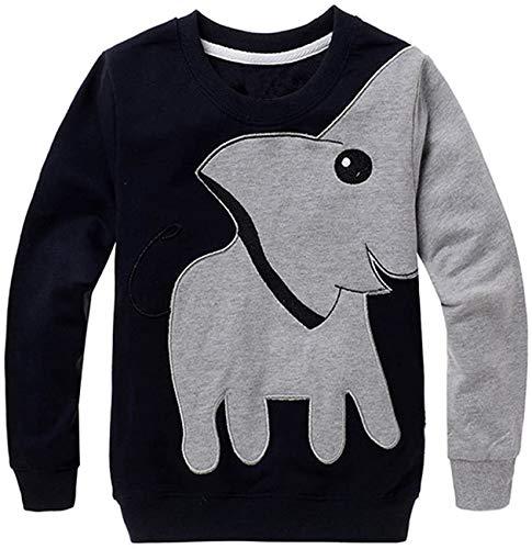 EULLA Jungen Kinder Sweatshirt Elefant Baumwolle T Shirts Pullover Tops schwarz DE 98