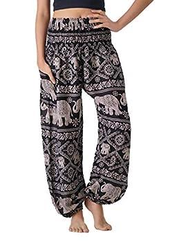 B BANGKOK PANTS Women s Harem Bohemian Hippie Yoga Pajamas Pants Boho Clothing  Black Elephant One Size