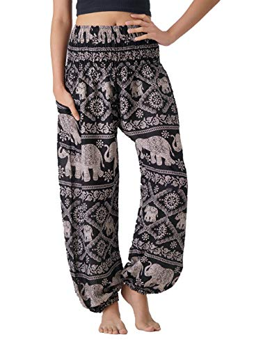 B BANGKOK PANTS Women's Harem Bohemian Hippie Yoga Pajamas Pants Boho Clothing (Black Elephant, One Size)