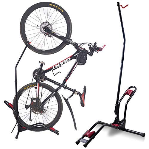 Dinsam Top Vertical Bike Stand, Indoor Bike Rack - Fits Nearly All Bikes & Frees 4 Feet of Floor Space