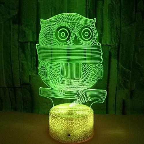 FREEZG luz de noche para niños Búho animal arte 7 Colores Lámpara Noche Infantil Lámpara LED Recargable con Control Táctil y Ajuste del Temporizador Regalo para Niño Bebe
