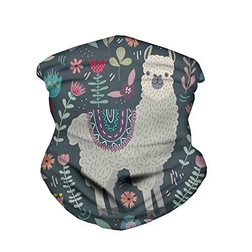 FKELYI Balaclava Headwear for Outdoor Sport Wind Dust Proof Headband Cute Cartoon Alpaca Print Bandanas Headscarf Running Hiking Camping Tube Neck Gaiter