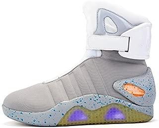 Green Hope-Rise Field Men' Fabric LED Flashing High-Top Shoes Light Up Sneakers DQBF95-Grey-39