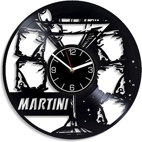 TIANZly Alcool Art Martini Disque Vinyle Horloge Murale Boisson Noël Hommes Cocktail Décoration 12 Pouce Horloge Murale Anniversaire pour Elle Martini Art Mural Alcool Cocktail Horloge Murale Moderne