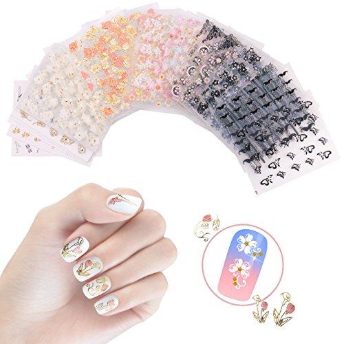 Nicedeco 50 hojas (más de 1500 unids) 3D pegatinas de uñas varias flores cráneo mariposa patrones calcomanías diseños de uñas de arte para las mujeres niñas
