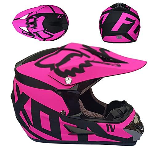 Cascos De Motocross, Personalidad Adulto Descenso DH Motocicleta Todoterreno Am Bicicleta De Montaña Casco Integral Negro + Casco De Montar Rosa con Gafas + Guantes + Protector Facial