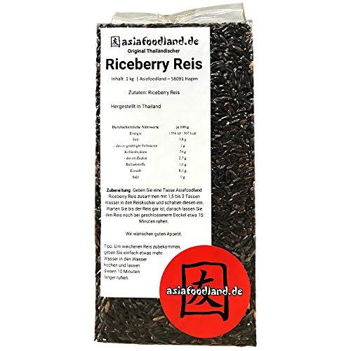 Asiafoodland - Original thailändischer Riceberry Reis, 1er Pack (1 x 1kg)