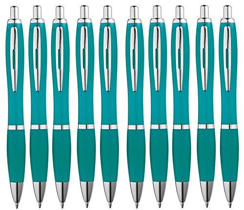 Libetui 10-er Pack Kugelschreiber rutschfeste Griffzone Großraumine blauschreibend Gehäuse Türkis