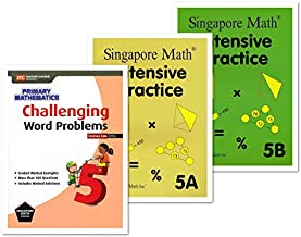 Singapore Math 3 Books Set for Grade 5 - Singapore Math Intensive Practice 5A & 5B, Challenging Word Problems Grade 5