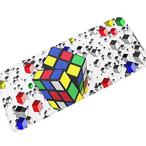 Tira de Dormitorio para niños Alfombra de Franela Estera de Noche Antideslizante Absorbente Cubo de Rubik 50 * 160 cm