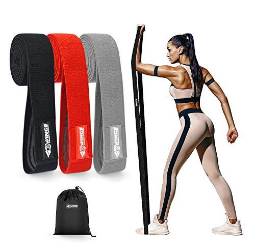 3WINGS Juego de bandas de resistencia de tela larga para mujer, 3 niveles de resistencia, bandas de resistencia para ejercicios de entrenamiento, bandas elásticas para yoga en casa