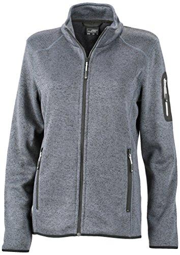 James & Nicholson Damen Jacke Jacke Knitted Fleece Jacket grau (Dark-Grey-Melange/Silver) Small