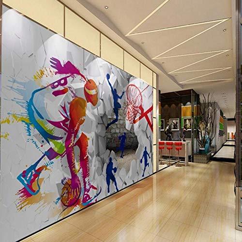Batian Mural Fondo de foto mural autoadhesivo infantil 3D Deco de pared, Marco de baloncesto deportivo de baloncesto pintado a mano colorido moderno, Materiales no tejidos, deco Decoración p 200*150CM