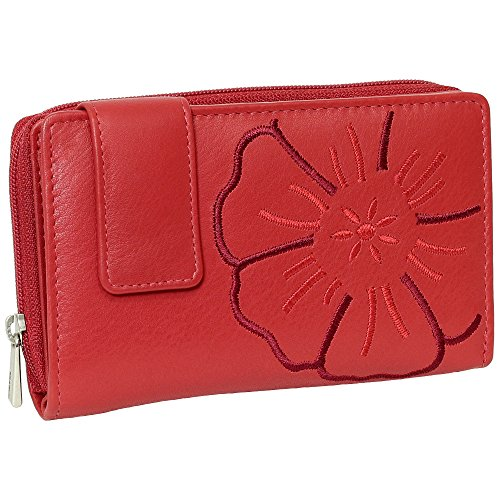 Branco Leder Geldbörse Portemonnaie Damenbörse Damen Lang Geldbeutel rot